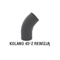 rura dymowa czarna 2 mm - kolano gięte 45 stopni z rewizją - fi 150