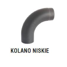 rura dymowa czarna 2 mm - kolano gięte niskie - fi 120