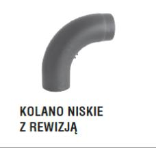 rura dymowa czarna 2 mm - kolano gięte niskie z rewizją - fi 150