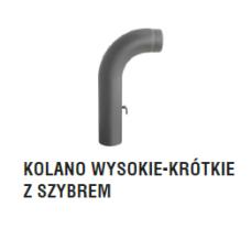 rura dymowa czarna 2 mm - kolano gięte wysokie krótkie z szybrem - fi 130