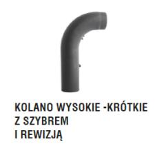 rura dymowa czarna 2 mm - kolano gięte wysokie krótkie z szybrem i rewizją - fi 150