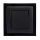 gniazdo tworzywowe z ramką szklaną ASKO Plus czarne