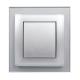 gniazdo tworzywowe z ramką szklaną ASKO Plus srebrne