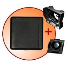 gniazdo tworzywowe komplet z płytką montażową i zaślepką ECO STND kwadrat czarne