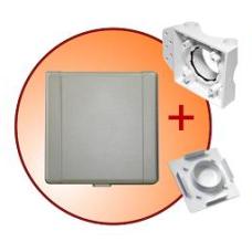 gniazdo tworzywowe komplet z płytką montażową i zaślepką ECO STND kwadrat srebrne