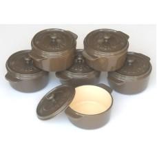 komplet 6 okrągłych mini rondelków żeliwnych, kolor brązowy