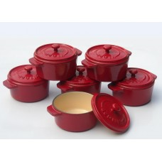 komplet 6 okrągłych mini rondelków żeliwnych, kolor czerwony