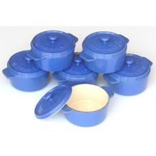 komplet 6 okrągłych mini rondelków żeliwnych, kolor niebieski