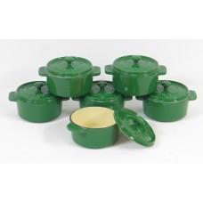 komplet 6 okrągłych mini rondelków żeliwnych, kolor zielony