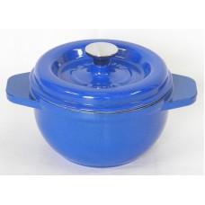 Garnek żeliwny okrągły 17 cm niebieski