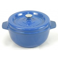 Garnek żeliwny okrągły 25 cm niebieski