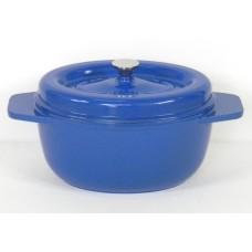 Garnek żeliwny owalny 26 cm niebieski