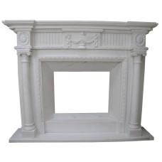 kominek marmurowy portal kominkowy Argos 1 biały marmur
