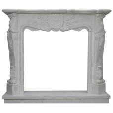 kominek marmurowy portal kominkowy Avignon biały marmur