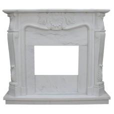kominek marmurowy portal kominkowy La Rochelle biały marmur