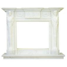 kominek marmurowy portal kominkowy Milos biały marmur