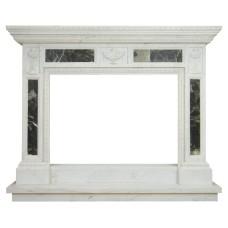 kominek marmurowy portal kominkowy Peloponez biały marmur + marmur emperador