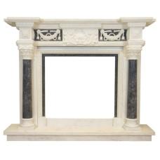 kominek marmurowy portal kominkowy Pireus biały i szary marmur