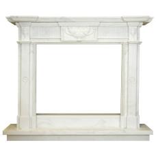 kominek marmurowy portal kominkowy Rodos biały marmur