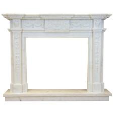kominek marmurowy portal kominkowy Santoryn biały marmur