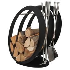 stojak na drewno + przybory kominkowe SA001B
