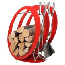 stojak na drewno + przybory kominkowe SA001R