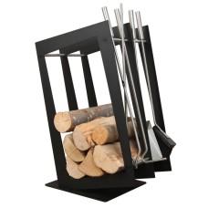stojak na drewno + przybory kominkowe SA002B