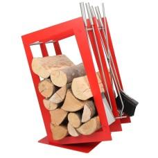 stojak na drewno + przybory kominkowe SA002R