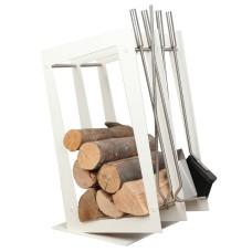 stojak na drewno + przybory kominkowe SA002W