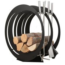 stojak na drewno + przybory kominkowe SA003B