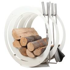 stojak na drewno + przybory kominkowe SA003W