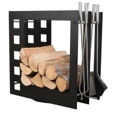 stojak na drewno + przybory kominkowe SA004B
