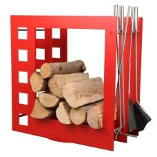 stojak na drewno + przybory kominkowe SA004R