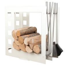 stojak na drewno + przybory kominkowe SA004W